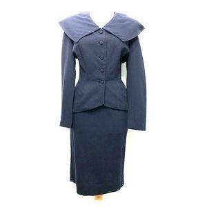 Vintage 40s Secretary Skirt Suit XS Navy Wool AsIs